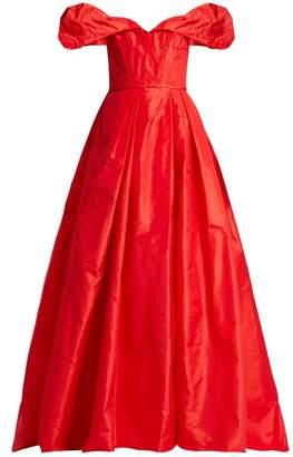 Carolina Herrera Off The Shoulder Silk Taffeta Gown - Womens - Red