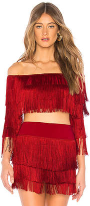Norma Kamali Fringe Off Shoulder Crop Top