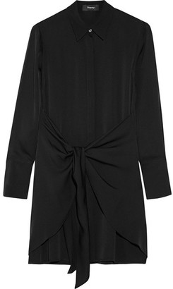 Theory - Talbilla Knotted Silk Crepe De Chine Shirt Dress - Black $395 thestylecure.com