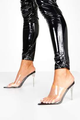boohoo Clear Stiletto Heel Pointed Toe Mules