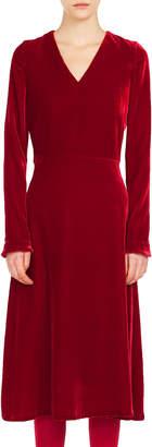 Akris Punto V-Neck Long-Sleeve A-Line Velvet Midi Dress