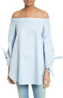 Women's Tibi Off The Shoulder Cotton Tunic $295 thestylecure.com