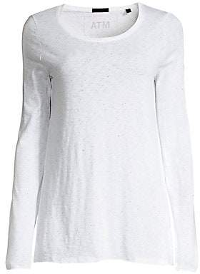 ATM Anthony Thomas Melillo Women's Pima Cotton Splatter Print Long-Sleeve Tee