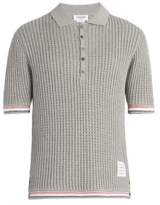 Thom Browne Striped Trim Waffle Knit Cotton Polo Shirt - Mens - Light Grey