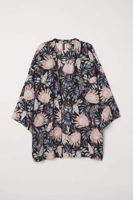 H&M Short Kimono - White/roses - Women