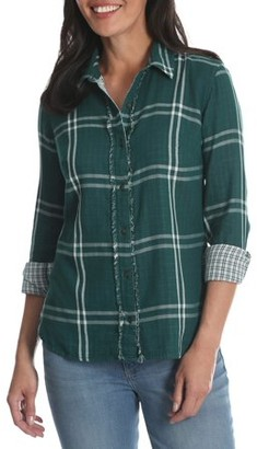 Lee Riders Women's Long Sleeve Woven Shirt with Fraying