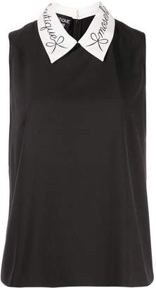 Moschino contrast-collar sleeveless top