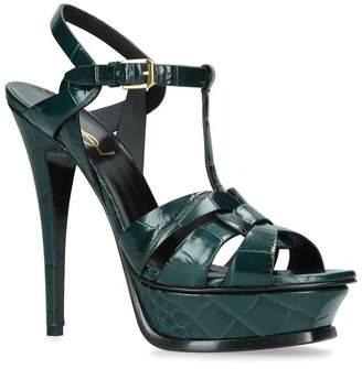 Saint Laurent Croc-Embossed Tribute Sandals 105