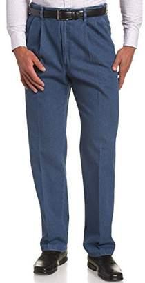 Haggar Men's Big& Tall Expandable-Waistband Pleat-Front Denim Pant