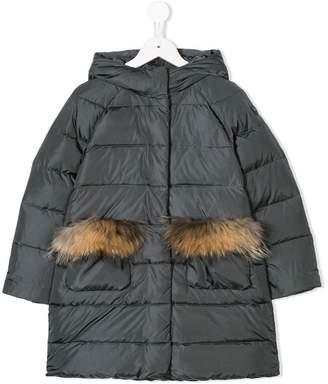 Il Gufo padded fur trim coat