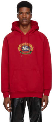 Burberry Red Embroidered Archive Logo Hoodie