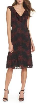 FOREST LILY Ruffle Neck Lace Midi Dress