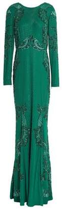 Roberto Cavalli Embellished Silk-Crepe Gown