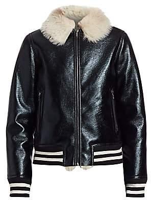 Mother Women's Coated Faux Fur-Collar Stripe-Trim Bomber Jacket