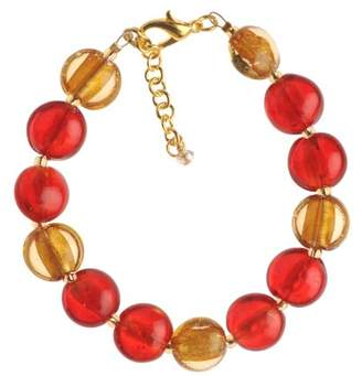 Factory The Jewellery Gold Plated Gold and Orange Murano Style Disc Bracelet of Length 23.5 cm