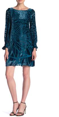Taylor Long Sleeve Burnout Shift Velvet Dress