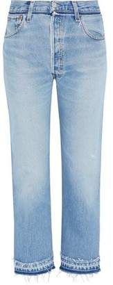 Levi's Re/Done By Cropped Frayed High-Rise Straight-Leg Jeans