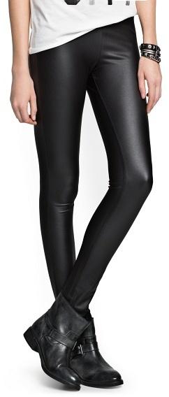MANGO Leather Effect Leggings