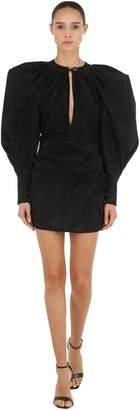 Suede Puff Shoulder Mini Dress