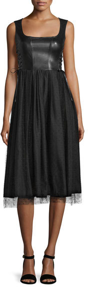 RED Valentino RED Valentino Sleeveless Leather and Point d'Esprit Skirt Dress, Black