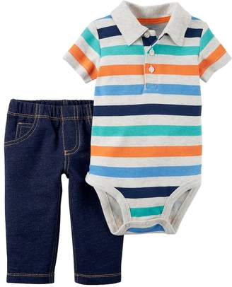 Carter's Baby Boy Striped Bodysuit & Faux Denim Set