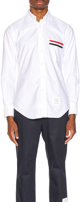 Thom Browne Pocket Collar Button Down Shirt in White | FWRD