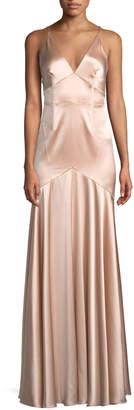 Jill Stuart Satin V-Neck Sleeveless Corset Gown