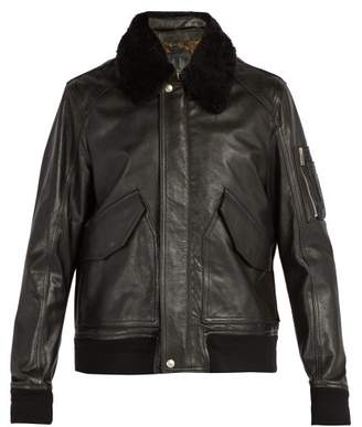 Belstaff - Arne Shearling Collar Leather Jacket - Mens - Black