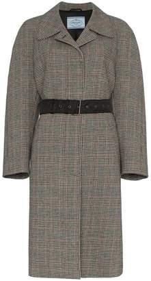 Prada belted check virgin wool blend coat