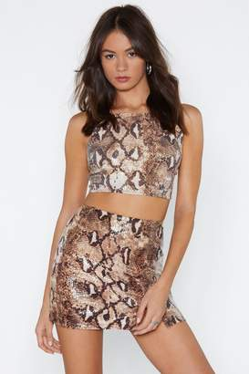 Nasty Gal Sequin-ce of Events Snake Skirt