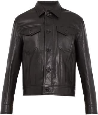 Neil Barrett Point-collar leather jacket