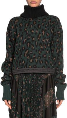 Sacai Leopard Jacquard Turtleneck Crop Sweater
