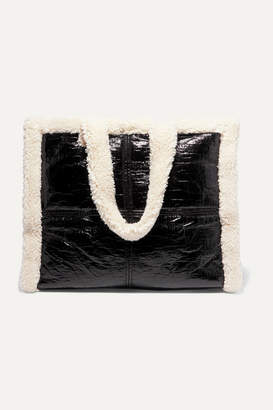Stand Studio - Lola Faux Shearling-trimmed Crinkled Faux Leather Tote - Black