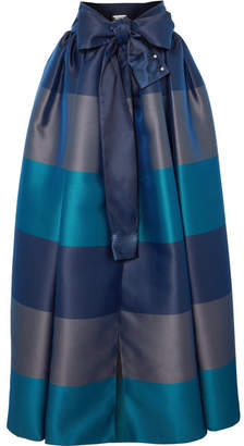 Alexis Mabille Bow-detailed Embellished Striped Satin-piqué Maxi Skirt - Navy