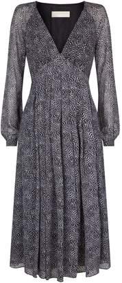MICHAEL Michael Kors Feather Print Midi Dress