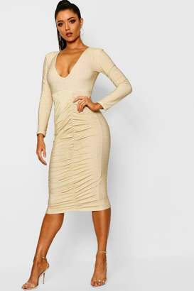 boohoo Metallic Ruched Front Midi Dress