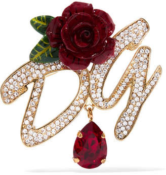 Dolce & Gabbana Gold-plated, Enamel And Crystal Brooch