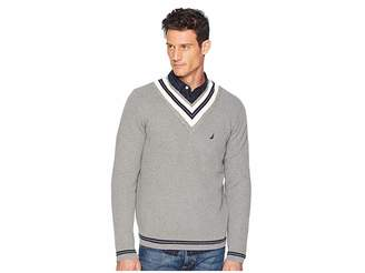 Nautica 9GG Cable Tipped V-Neck Sweater