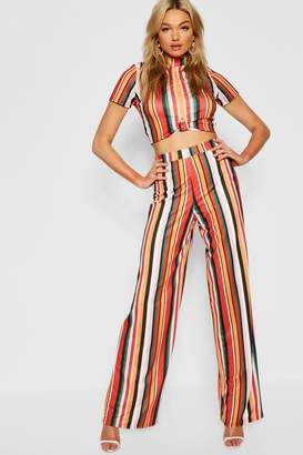 boohoo Tall Twist Front Crop & Wide Leg Trouser Co-ord