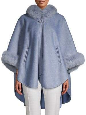 Made For Generation Dyed Fox Fur-Trimmed Cape