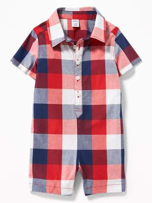 Old Navy Plaid Poplin Button-Front One-Piece for Baby
