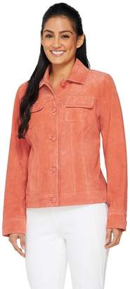 Dennis Basso Washable Suede Button Front Jacket