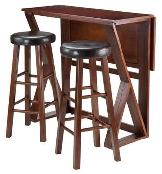 "Winsome Harrington 3-Pc Drop Leaf High Table, 2-29"" Cushion Round Seat Stools"