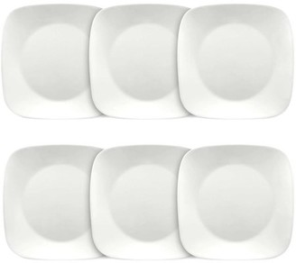 "Corelle Square Pure White 9"" Lunch Plate, Set of 6"