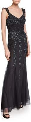 Marina Off-the-Shoulder Beaded Godet Gown