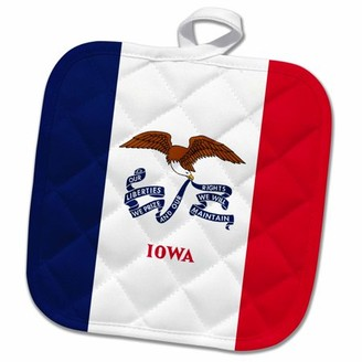 3dRose Flag of Iowa - US American state - United States of America USA - blue white red stripe - bald eagle - Pot Holder, 8 by 8-inch