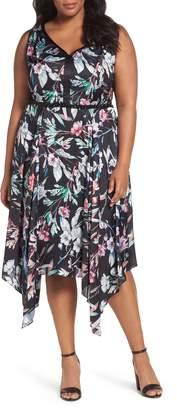 Adrianna Papell Print Satin Chiffon Handkerchief Dress
