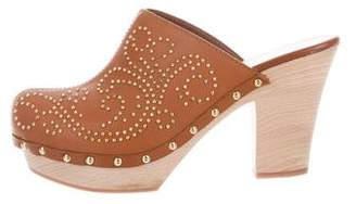 Sergio Rossi Leather Studded Clogs
