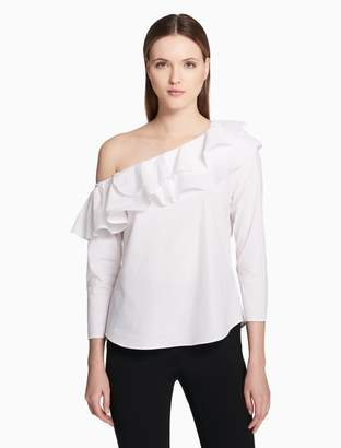 Calvin Klein off-the-shoulder ruffle blouse