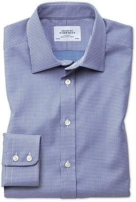 Charles Tyrwhitt Slim Fit Egyptian Cotton Diamond Spot Navy Blue Dress Shirt Single Cuff Size 15/34